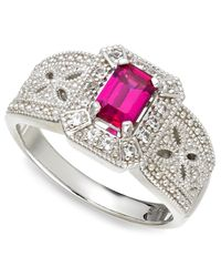 Macy's | Metallic Sterling Silver Ring, Emerald-Cut Ruby (3/4 Ct. T.W.) And White Sapphire (1/6 Ct. T.W.) Ring | Lyst
