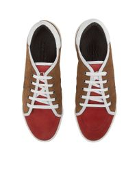 Jimmy Choo - Basil Olympic Red And Chestnut Suede Low Top Trainers for Men - Lyst
