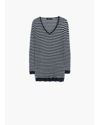 Mango | Black Striped Rib Sweater | Lyst