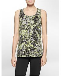 Calvin Klein | Black White Label Performance Marble Print High Low Tank Top | Lyst