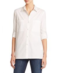 DKNY - White Trapeze-hem Shirt - Lyst