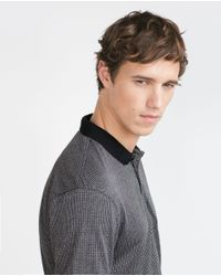 Zara | Black Jacquard Polo Shirt for Men | Lyst