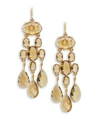 Lauren by Ralph Lauren | Metallic Faceted-stone Chandelier Earrings | Lyst