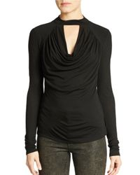 Guess | Black Draped Keyhole Top | Lyst