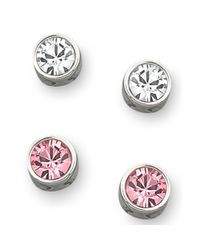 Swarovski | Pink and Clear Crystal Stud Earring Set | Lyst
