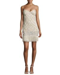 Aidan By Aidan Mattox - Multicolor Beaded Cocktail Dress W/ Fringe Hem - Lyst