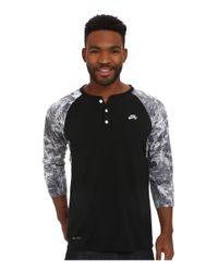Nike   Black Sb Dri-fit 3/4 Sleeve Fern Henley for Men   Lyst