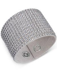 Swarovski | Gray Fabric Crystal Stud Wrap Bracelet | Lyst