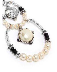 Miriam Haskell - Metallic Crystal Pearl Circle Drop Earrings - Lyst