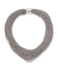 Brunello Cucinelli | Metallic Silver Twist Collar Necklace | Lyst