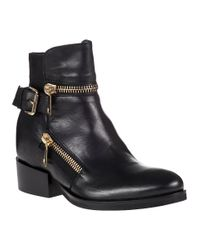275 Central | Zipper Biker Boot Black Leather | Lyst