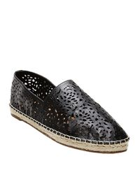 Steven by Steve Madden | Black Lasir Perforated Leather Flats | Lyst