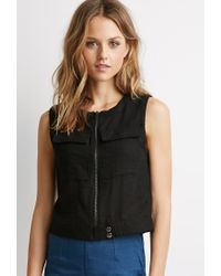 Forever 21 - Black Zippered-front Woven Top - Lyst