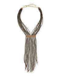 Dina Mackney - Metallic Pyrite Beaded Fringe Necklace - Lyst