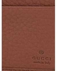 Gucci - Brown Stitched-Logo Leather Wallet for Men - Lyst