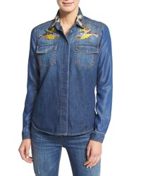 Roberto Cavalli - Blue Embroidered Chambray Button-down Top - Lyst
