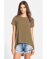Glamorous - Natural Slit Back Woven Top - Lyst