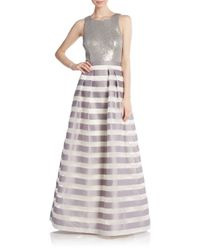 Kay Unger | Metallic Sequin & Stripe A-line Gown | Lyst