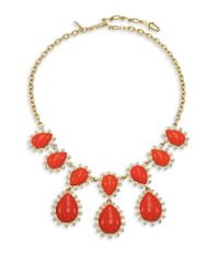 Kenneth Jay Lane | Orange Cabochon Teardrop Bib Necklace | Lyst