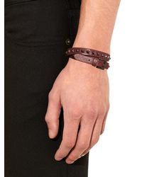 Valentino | Purple Leather Wraparound Bracelet for Men | Lyst