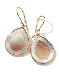 Ippolita - Metallic 18k Gold Polished Rock Candy Mini Teardrop Earrings In Brown Shell/mother-of-pearl - Lyst