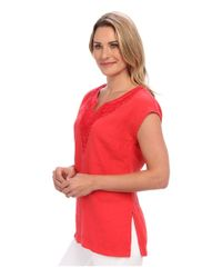 Tommy Bahama - Red Two Palms Embellished Cap Sleeve Tunic - Lyst