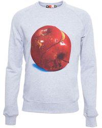 MSGM - Gray Apple Print X Toilet Paper Sweatshirt for Men - Lyst