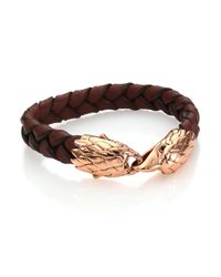 John Hardy | Black Classic Chain Woven Leather & Bronze Eagle Bracelet for Men | Lyst