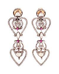 Sabine G | Pink 18k Rose Gold Diamond & Ruby Heart Earrings | Lyst