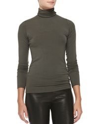 Neiman Marcus - Green Soft Touch Long-sleeve Fitted Turtleneck Top - Lyst
