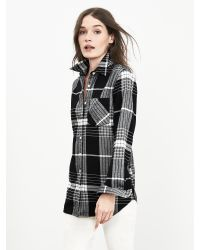 Banana Republic | Black Soft-wash Bold Plaid Boyfriend Shirt | Lyst