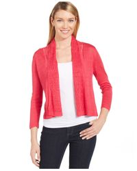 Jones New York | Red Collection Petite Cropped Pointelle-trim Cardigan | Lyst