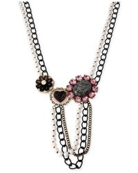 Betsey Johnson - Metallic Two-Tone Imitation Pearl Mixed Charm Frontal Necklace - Lyst
