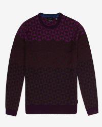 Ted Baker | Purple Ombré Pattern Wool Sweater for Men | Lyst