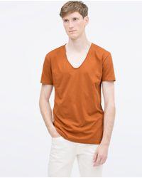 Zara | Orange V-neck T-shirt for Men | Lyst