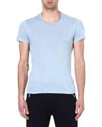 Sandro - Blue Clash Linen T-shirt for Men - Lyst