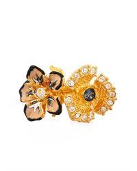 Alexander McQueen | Metallic Cherry Blossom Resin And Brass Ring | Lyst