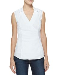 NYDJ - White Fit Solution Sleeveless Faux-wrap Top - Lyst