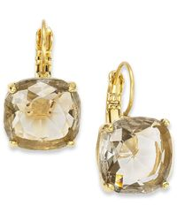 kate spade new york | Metallic 12K Gold-Plated Black Diamond Crystal Square Leverback Earrings | Lyst