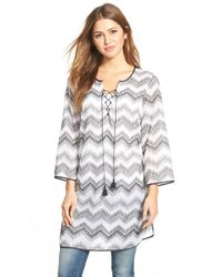 NIC+ZOE | White 'Zigzag' Lace-Up Tunic | Lyst