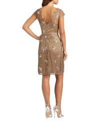 Kay Unger - Brown Sequined Lace Dress - Lyst