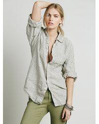 Free People | Natural X Cp Shades Womens Stripe Boyfriend Shirt | Lyst