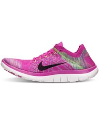Nike   Pink Women'S Free Flyknit 4.0 Running Sneakers From Finish Line   Lyst