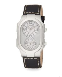 Philip Stein | Black Signature Stainless Steel Dual Time Zone Leather Topstitched Strap Watch | Lyst