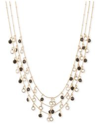 Anne Klein | Metallic Gold-tone Jet And Glass Stone Three-row Necklace | Lyst