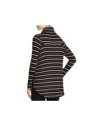 Free People   Black Striped Thermal Knit Cowl Neck   Lyst