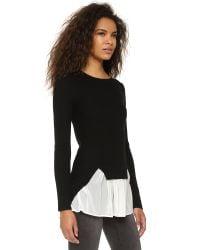 Top Secret - Black Chiffon Ruffle Sweater - Lyst