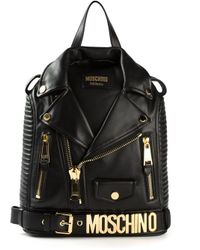 4b766535dc1c Moschino Biker Jacket Style Backpack in Black - Lyst