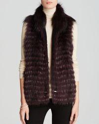 Maximilian - Purple Feathered Fox Fur Vest With Drawstring Waist - Lyst