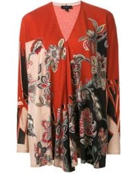 Etro - Red Floral Paisley Print Cardigan - Lyst